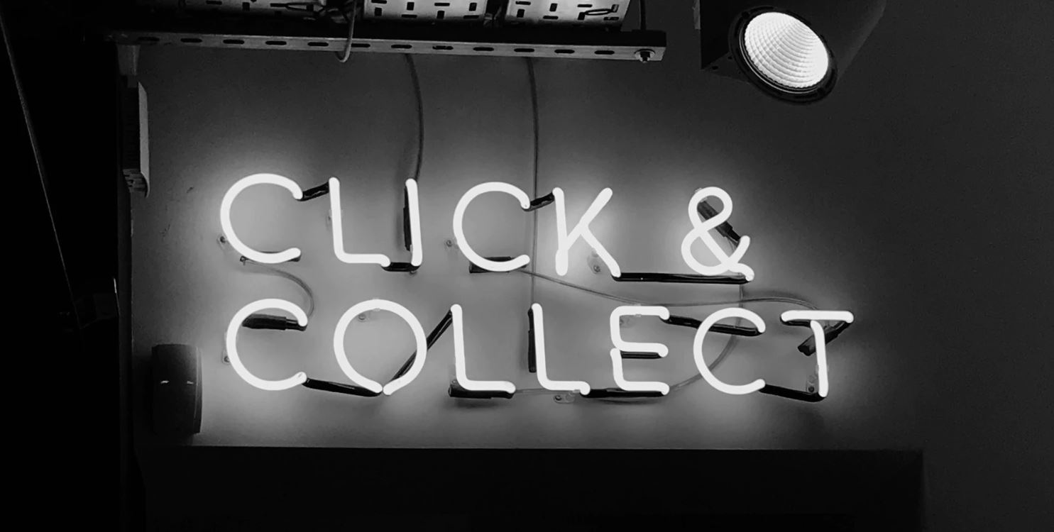 neon click and collect sign