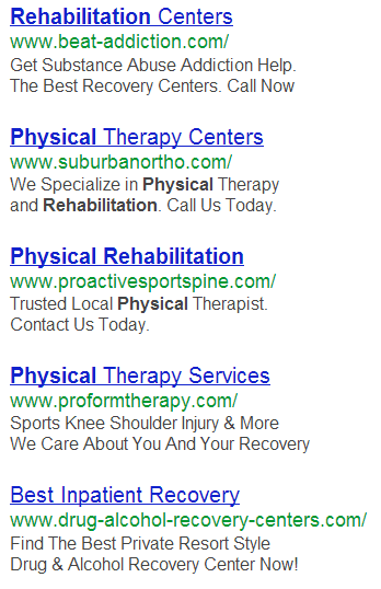 negative keyword example for ads serving rehabilitation services.