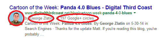image showing authorship markup with image and google plus info in search results