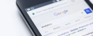 Smartphone searching for analytics in Google