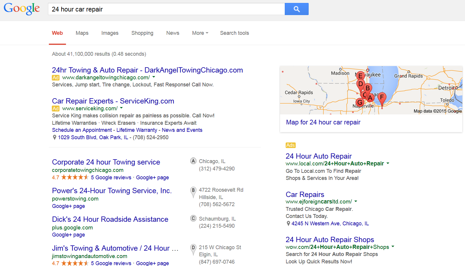 Ad relevance and quality score in AdWords
