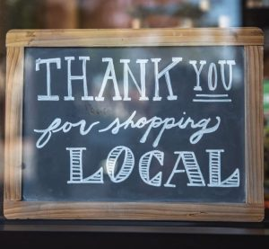 Sign: thank you for shopping local