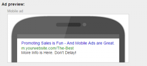 Mobile AdWords text ad example