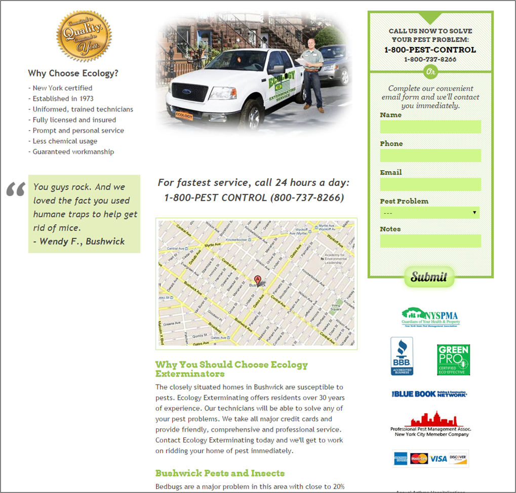 example of a location-based local landing page for a Brooklyn exterminator