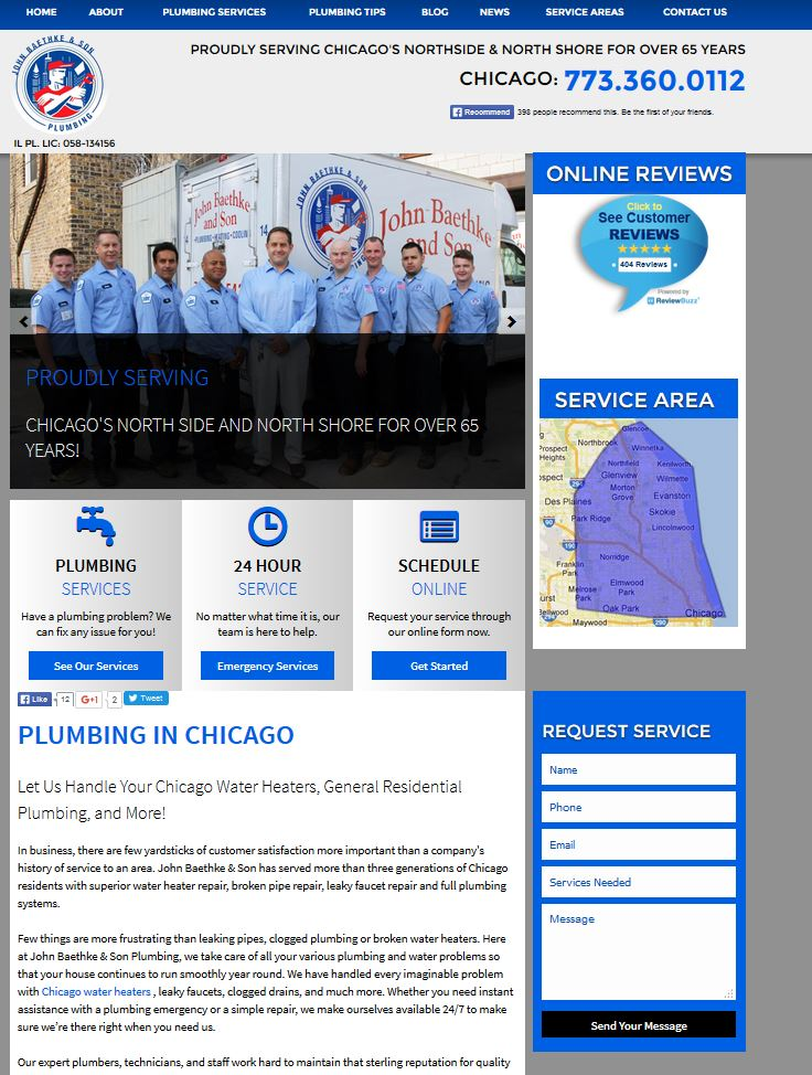 example of a well targeted chicago plumber home page