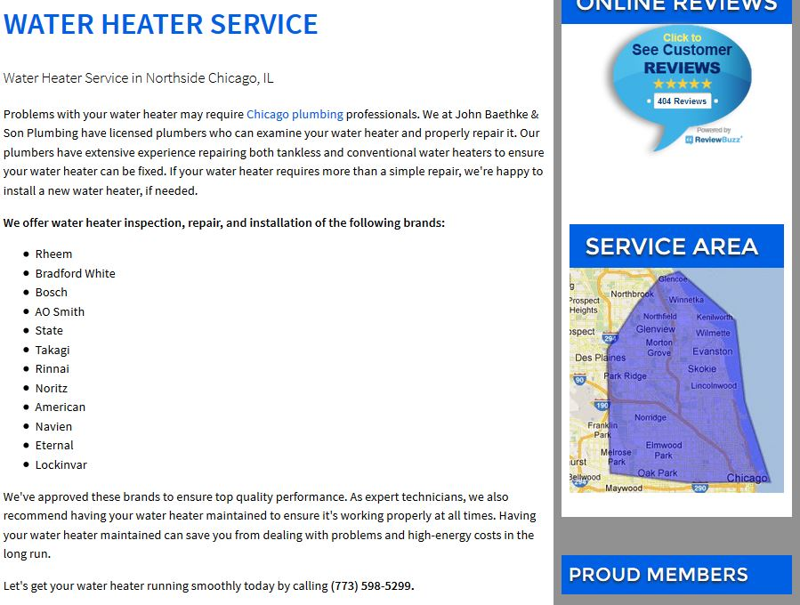 Example of a local service page