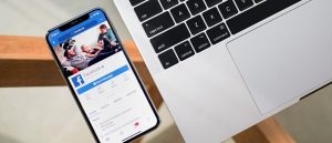 Smartphone opened to social media app Facebook