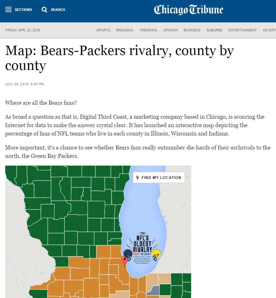 Interactive for the NFL team support in the Midwest.