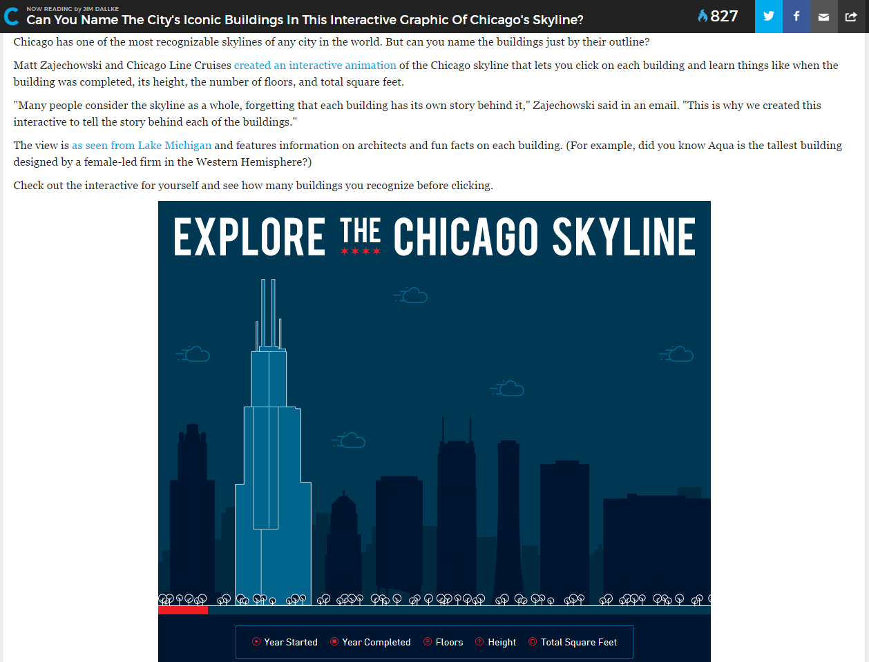 Chicago skyline and architecture interactive