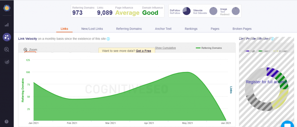 Cognitive SEO graphic result example