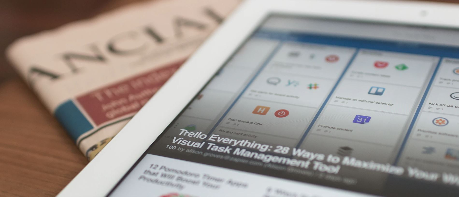 Tablet on newspaper articles