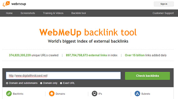WebMeUp backlink tool screenshot