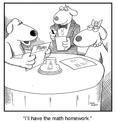 Cartoon of dogs ordering math homework at restaurant