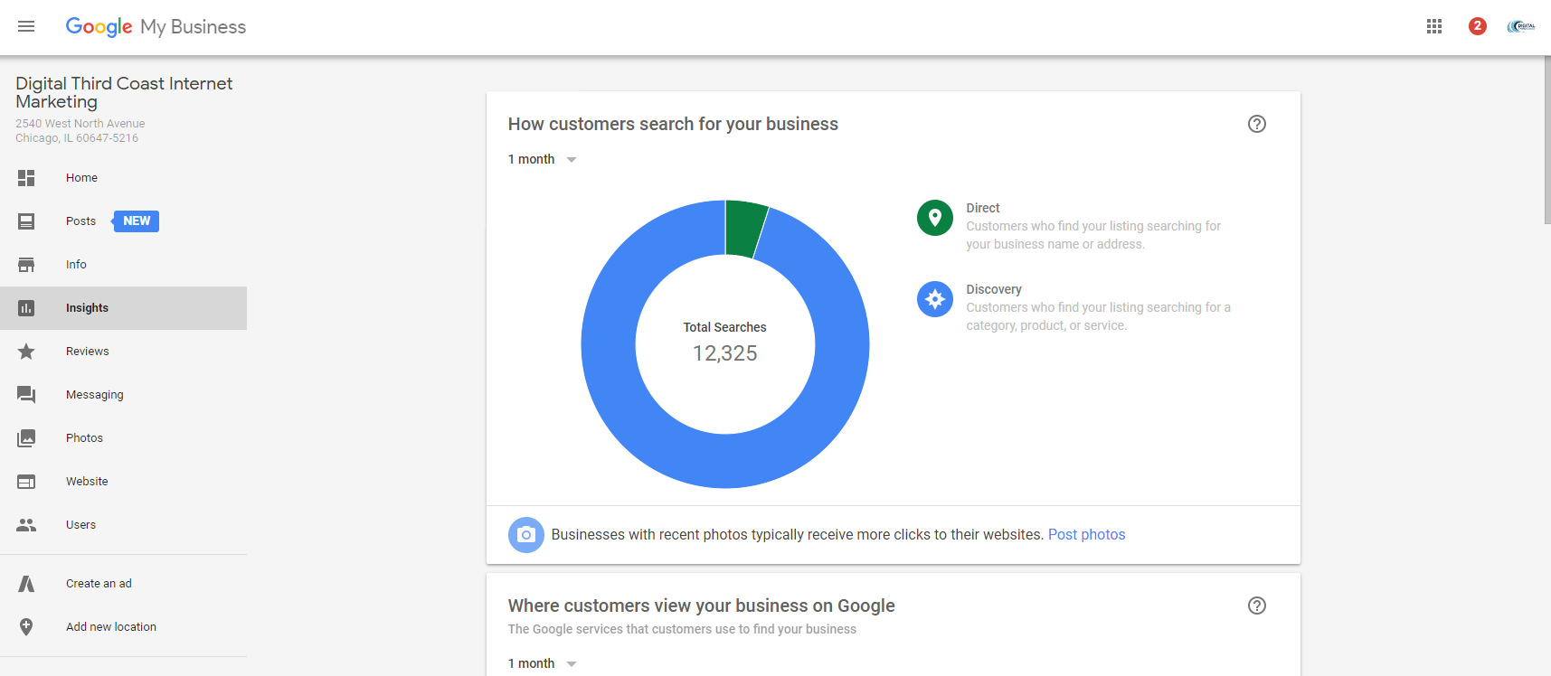 Image of the Insights section of Google My Business showing graphs and statistics