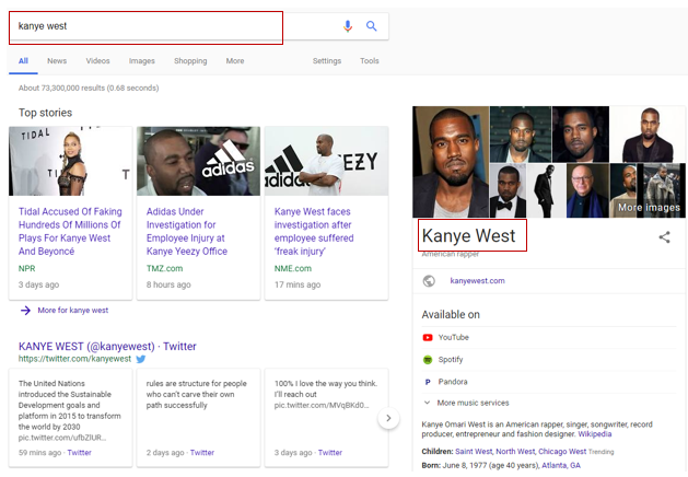 Kanye West in Google search results