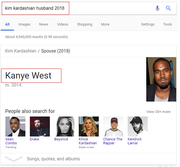 Kim Kardashian husband in Google search results