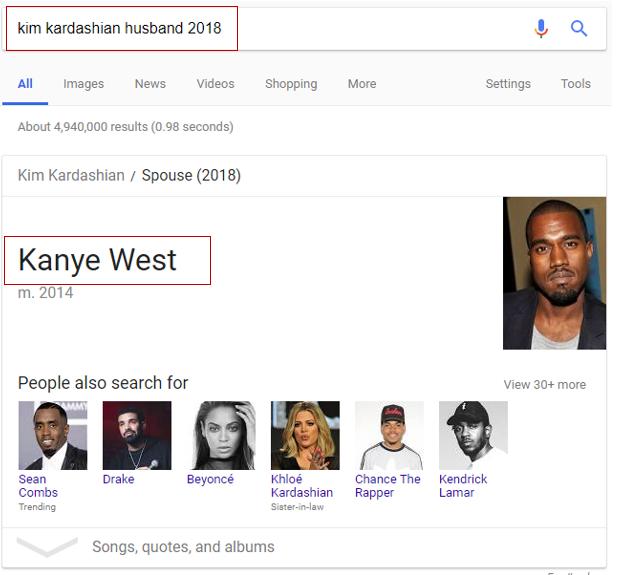 Kim Kardashian husband in Google search results