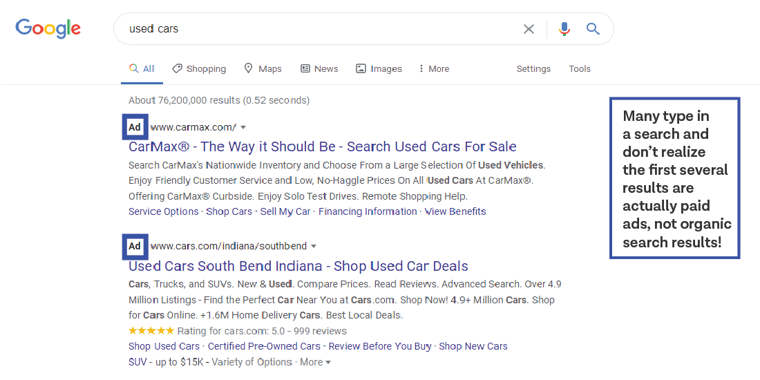 SERP google ads for used cars