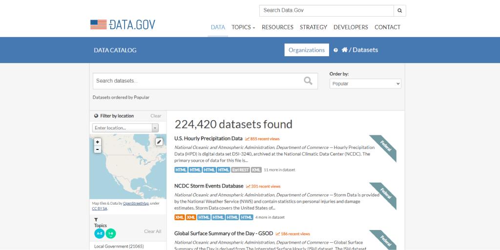 Screenshot of the website data.gov