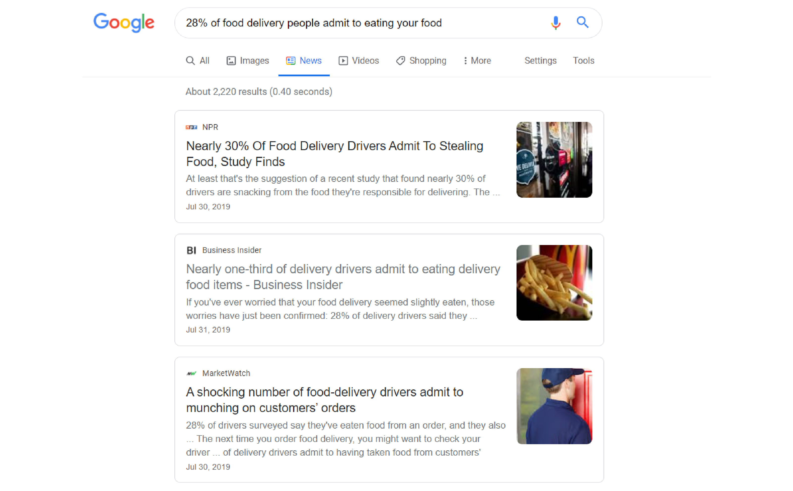 SERP for a news article