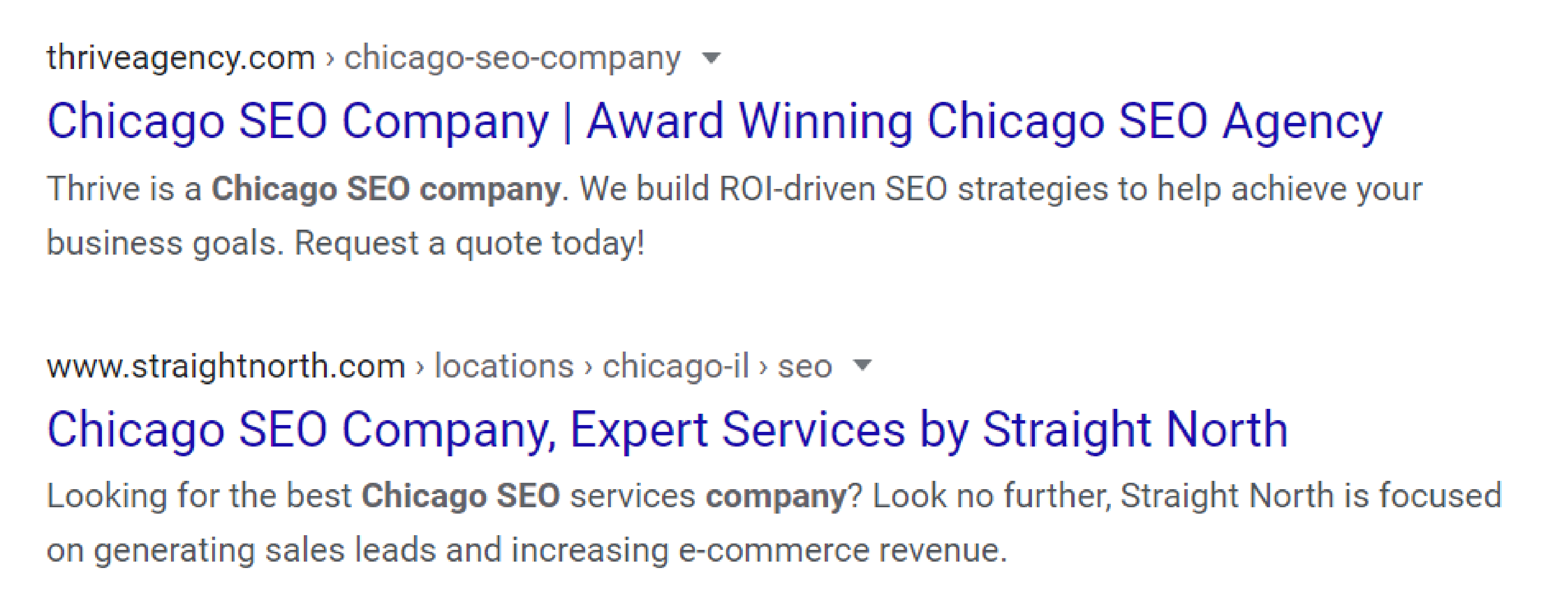 SERP for Chicago SEO companies