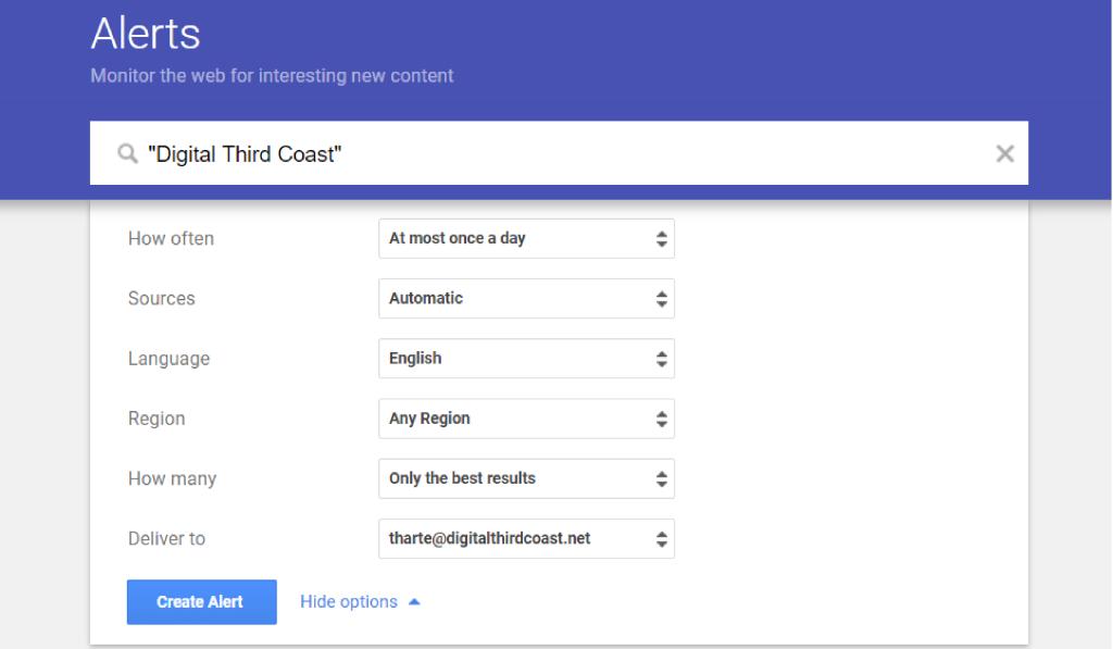 Set Google alert for backlinks