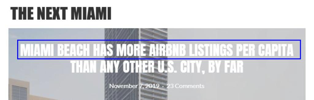 The Next Miami, news headline