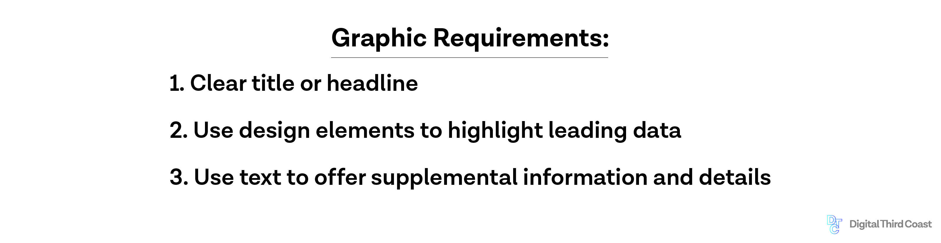 Graphic requirements for successful infographic: Clear title or headline, use of design elements to highlight leading data, and use of text to offer supplemental information.