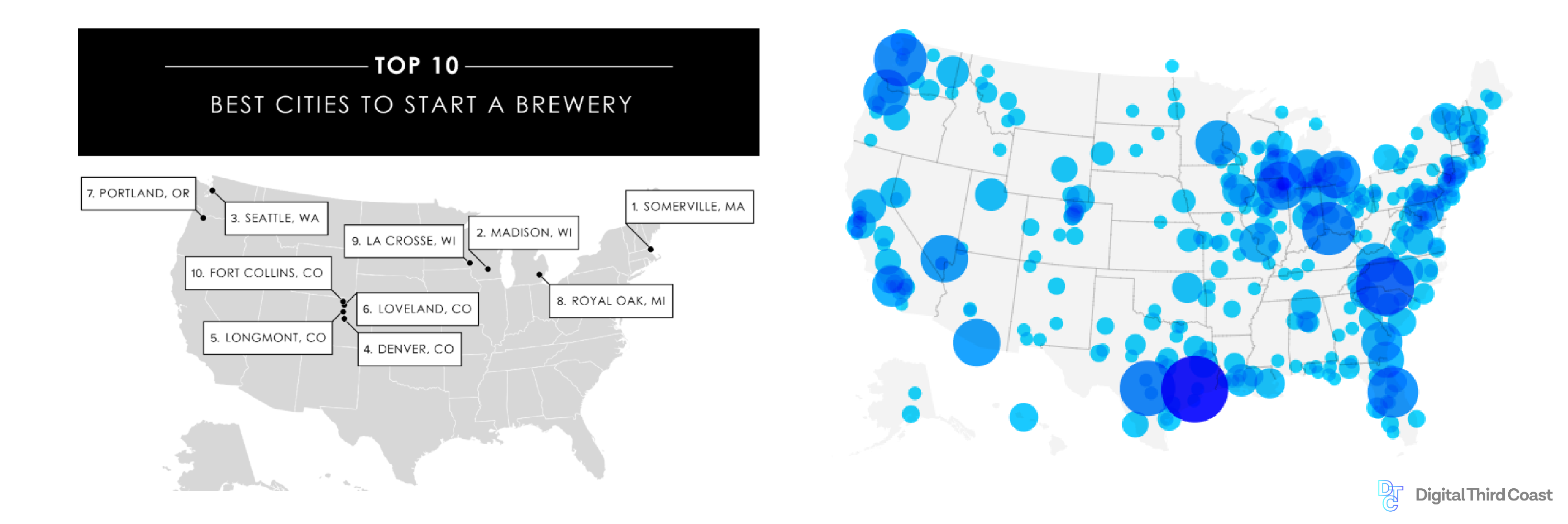 Map of United States illustrating best cities to start a brewery