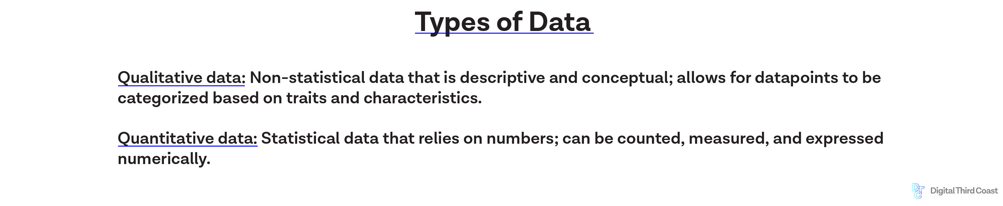 Graphic image highlighting text calling out two types of data: quantitative and qualitative