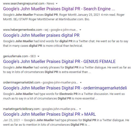 Search engine results featuring headlines about John Mueller's Digital PR Tweet