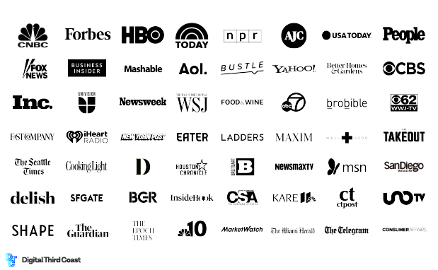 logos of digital publications who shared the content campaign: CNBC, Forbes, HBO, TODAY, NPR, AJC, USA Today, People, Fox News and many more.