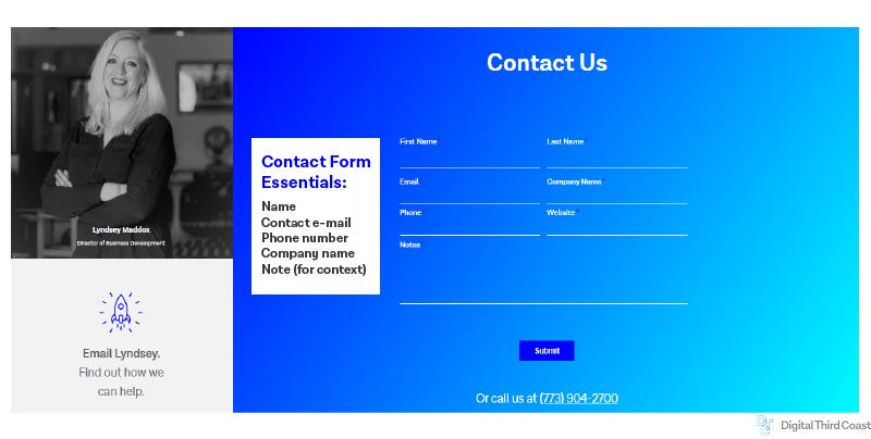 Digital Third Coast Lead form example