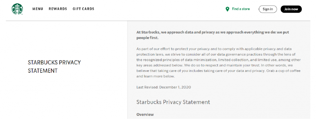 screen grab of Starbucks' privacy policy page