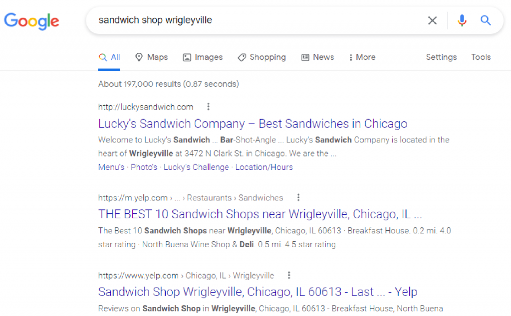 Search engine results page for Wrigleyville sandwich shop.