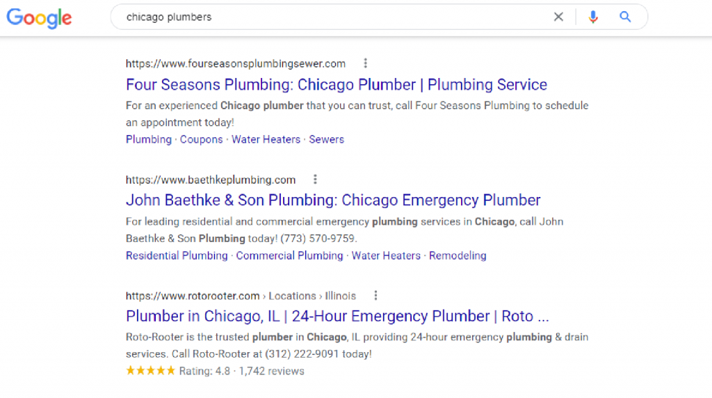 Search engine page results for Chicago Plumber.