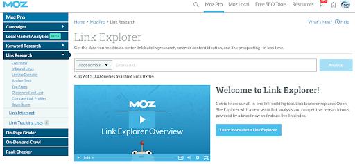 Screenshot of Moz Link Explorer